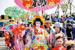 The Bunsui Kimono Parade at the Tsubame Cherry Blossom Festival